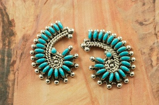 Stunning Earrings featuring Genuine Sleeping Beauty Turquoise set in Sterling Silver. Beautiful Petit Point Design. Many days of painstaking work went into creating this Southwestern Art Masterpiece. Created by Master Zuni Artist Connie Seowtewa. Signed by the artist. The Zuni Pueblo is located in New Mexico, Land of Enchantment.